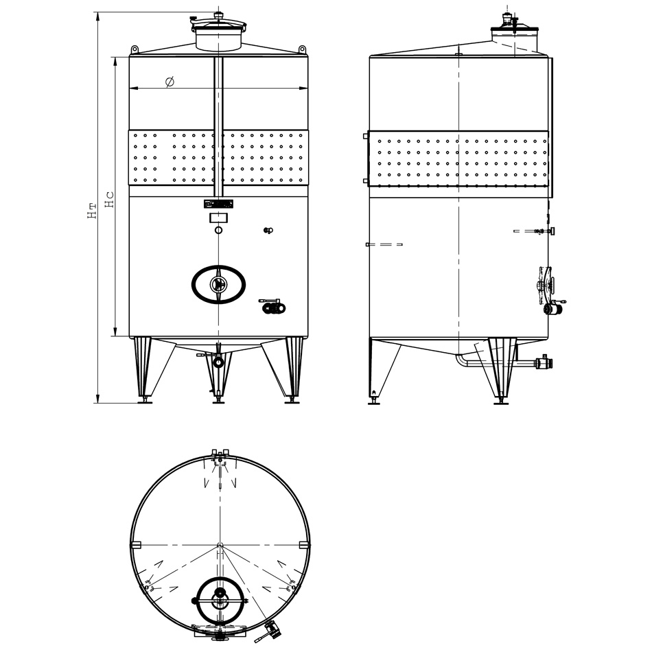 Резервоар цилиндричен на крака