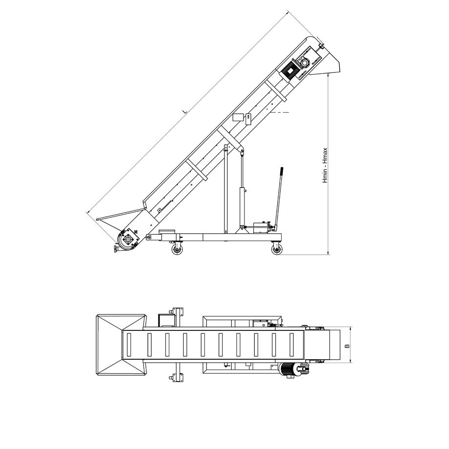 Транспортьор лентов с променлив наклон